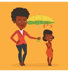 Insurance agent holding umbrella over woman vector image vector image
