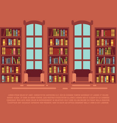 modern library empty interior with bookcase vector image