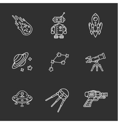 nine stylish space icons vector image vector image