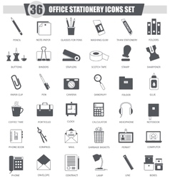 Office stationery black icon set Dark grey vector image