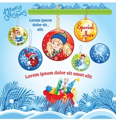 Winter Kid template with Balls vector image vector image