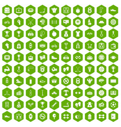 100 boxing icons hexagon green vector image