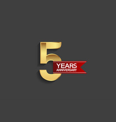 5 years anniversary simple design with golden vector