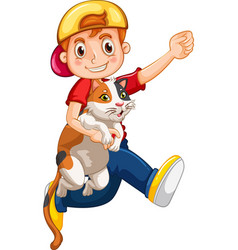 a boy holding cute cat cartoon character isolated vector image