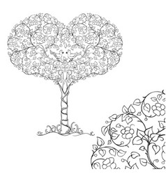 a pair of birds in the crown of the heart tree vector image