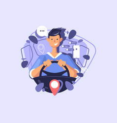 a young guy driving a car concept of vector image