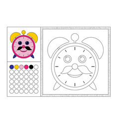 Alarm clock coloring book page template vector