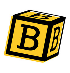 Alphabet block toy education icon vector