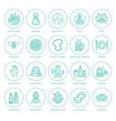 Alternative medicine line icons naturopathy vector