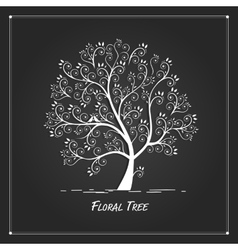 Art tree for your design on black background vector image