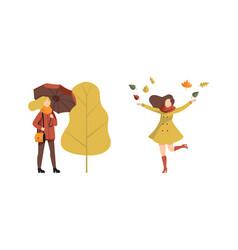 autumn time outdoor activities set young women vector image