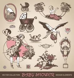 baby shower antique design elements set vector image