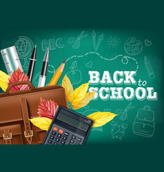 back to school card with bag pencils and other vector image