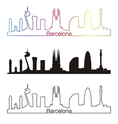 Barcelona skyline linear style with rainbow vector image