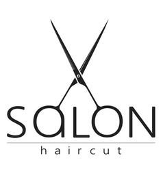 Beauty salon with scissors silhouette vector