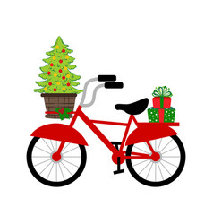Bicycle with christmas tree vector