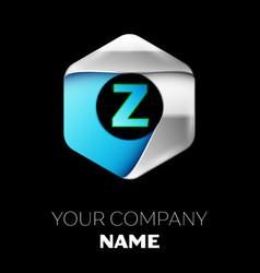 blue letter z logo in the silver-blue hexagonal vector image