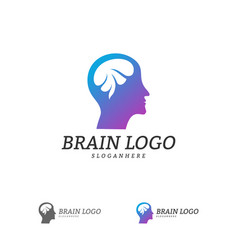 brain head logo template man head people symbols vector image