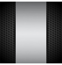 brushed metallic panel on black mesh vector image