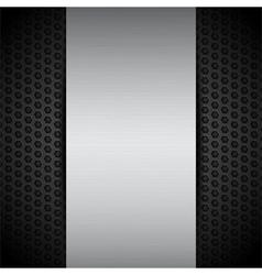 Brushed metallic panel on black mesh vector