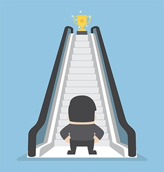 Businessman standing in front of escalator that le vector image