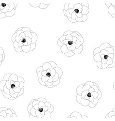 Camellia flower outline on white background vector