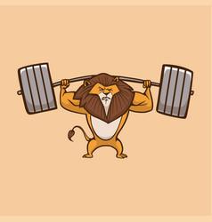 Cartoon animal design lion lift barbell cute vector