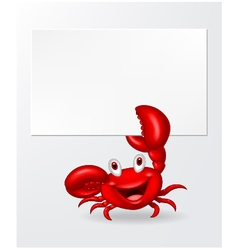 Cartoon crab holding blank sign vector image