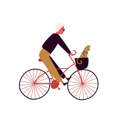 cartoon stylish male riding on bike with cat vector image