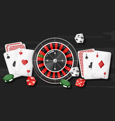 Casino roulette composition with rolling dices vector