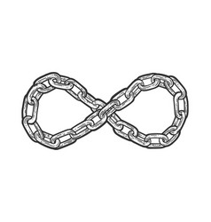 Chain infinity sign sketch vector