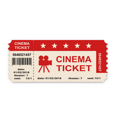 cinema ticket isolated on white background vector image