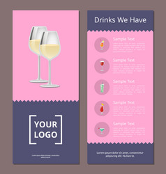 cocktails menu cover design with list drinks vector image