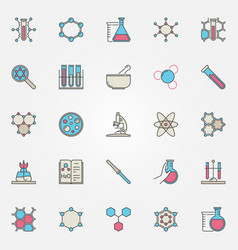 colorful chemistry icons vector image