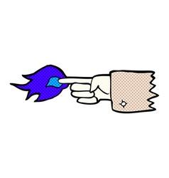 comic cartoon flaming pointing finger symbol vector image