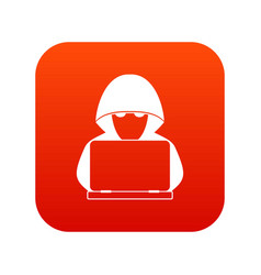 computer hacker with laptop icon digital red vector image