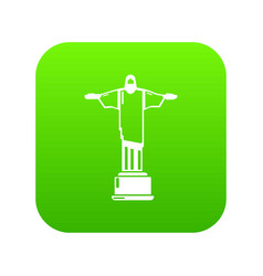 Cristo redentor icon green vector