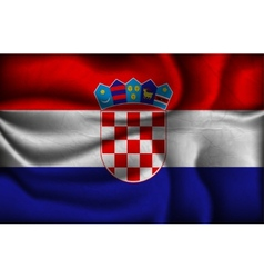 Crumpled flag of croatia on a light background vector