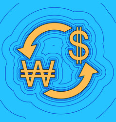 currency exchange sign south korea won and us vector image