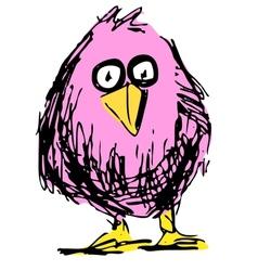 Cute bird in cartoon style vector