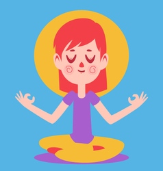 Cute Girl Meditating vector
