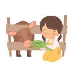 Cute little girl feeding calf with grass adorable vector