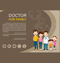 Doctor and cute family background poster vector