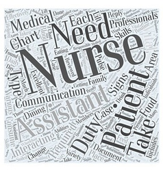 Duties of a Nursing Assistant Word Cloud Concept vector