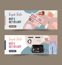 Fashion banner design with pants cosmetics vector