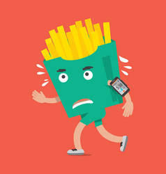 fast food or french fries on the run vector image