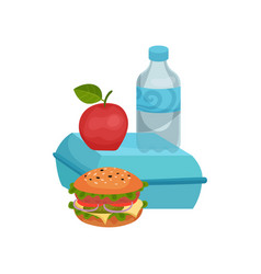 Flat composition of school lunch tasty vector