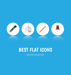 Flat icon stationery set of straightedge pushpin vector