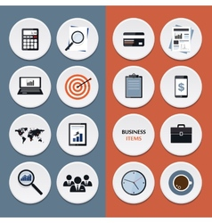 Flat icons business workflow items and elements vector