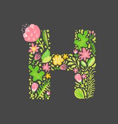 Floral summer letter h flower capital wedding vector